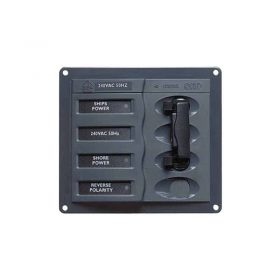 113218 BEP 'Contour AC' Circuit Breaker Control Panel 2 + main Circuits 127x115mm (2 20 amp Main Circuit breakers Double pole)
