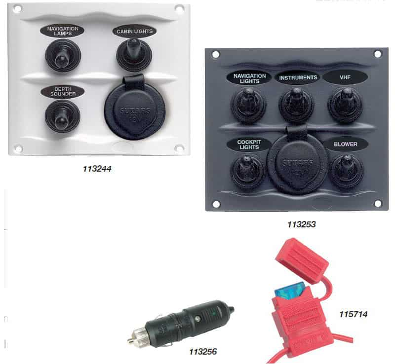 113254 BEP Splash Proof Switch Fuse Panels 5 Way Power Socket White