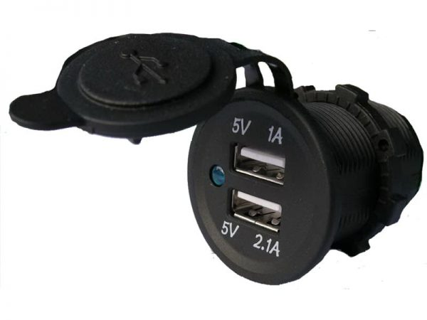 Power Socket Usb X 2 Front Mount 12-24V