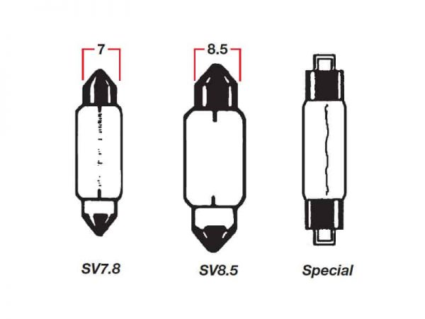 Bulb Festoon 12V 5W Sv7.8 X 29mm