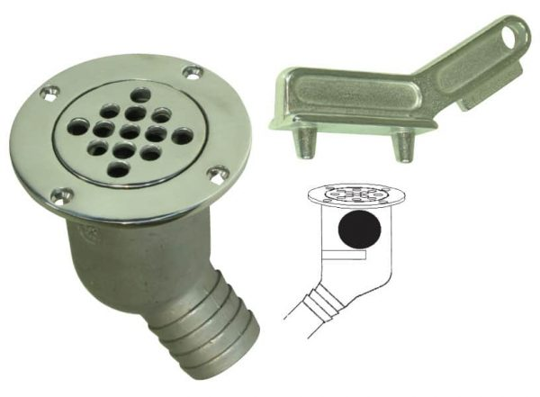 Scupper Cockpit G316 S/S Screw Strainer
