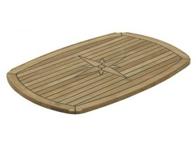 Table Teak Nautic Star Half Elps 70X50Cm