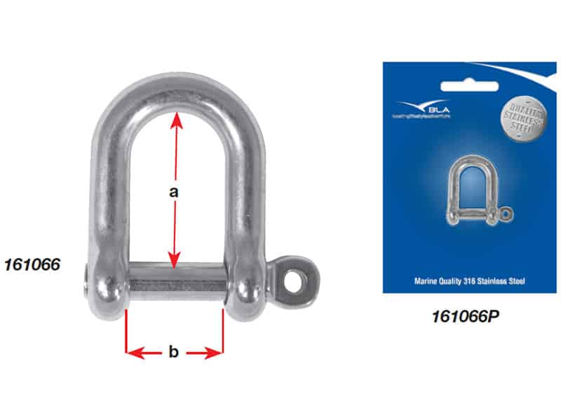 Shackle Dee G316 S/S Captive Pin 5mm