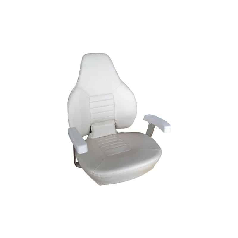 Seat Hi Back Folding W/Arms White Vinyl