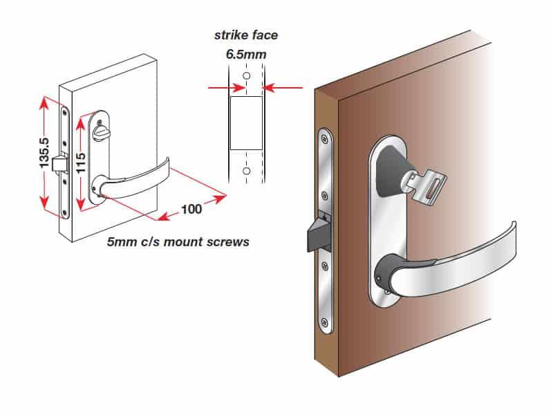 Lock Door Offshore Mortise White L/H