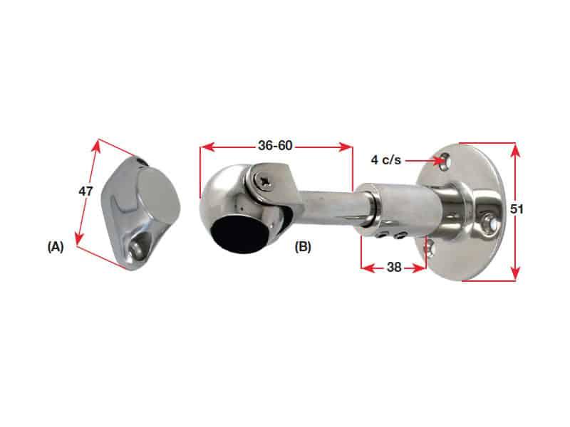 Catch Door Magnetic S/S Adjust 90-115mm