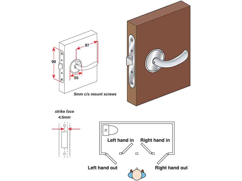 Lock Door Mccoy C/W Priv Lock Chrome R/O