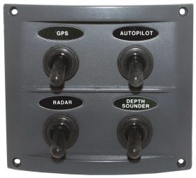 4 Switch Panel Deluxe Grey Splashproof