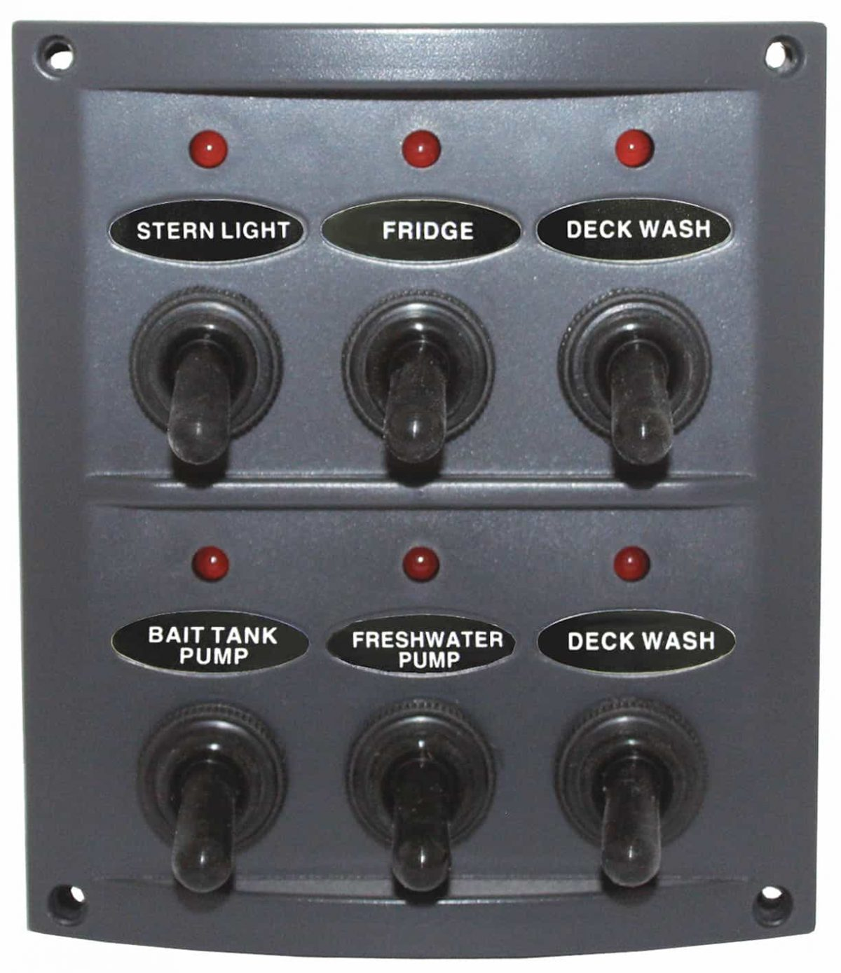6 Switch Panel Deluxe Grey Splashproof