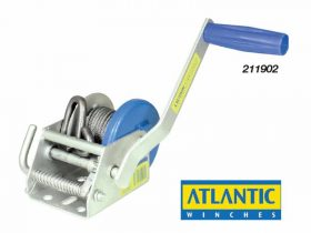 211902 Atlantic Manual Trailer Winch - Compact 300kg Gear Ratio 3:1 6m x 4mm galvanised cable & s/s 'S' hook