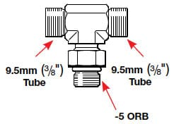 HF6605 Orb Tee Fitting Specs