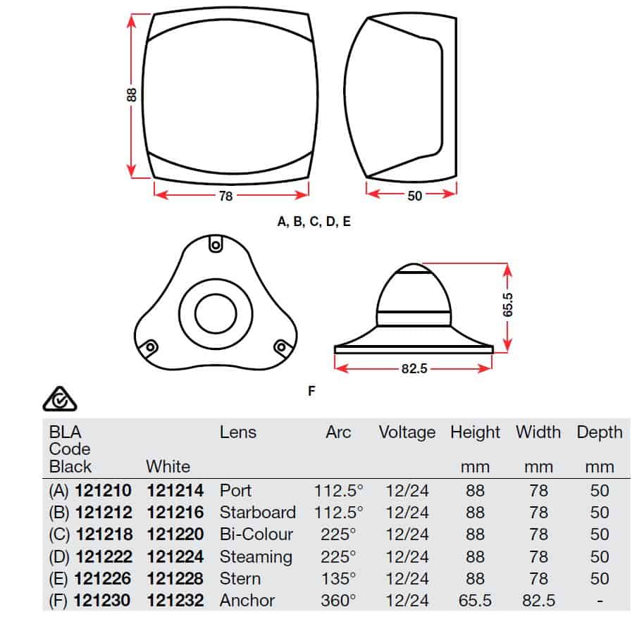 Dimensions of Navigation Lights BLA
