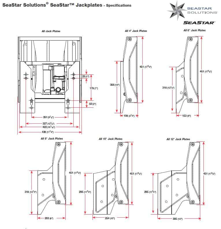 Seastar Jack Plate Specifications