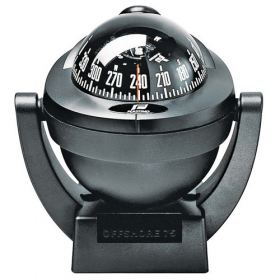 Plastimo Offshore 75 Compass - Black - Bracket Mount With Conical Black Card