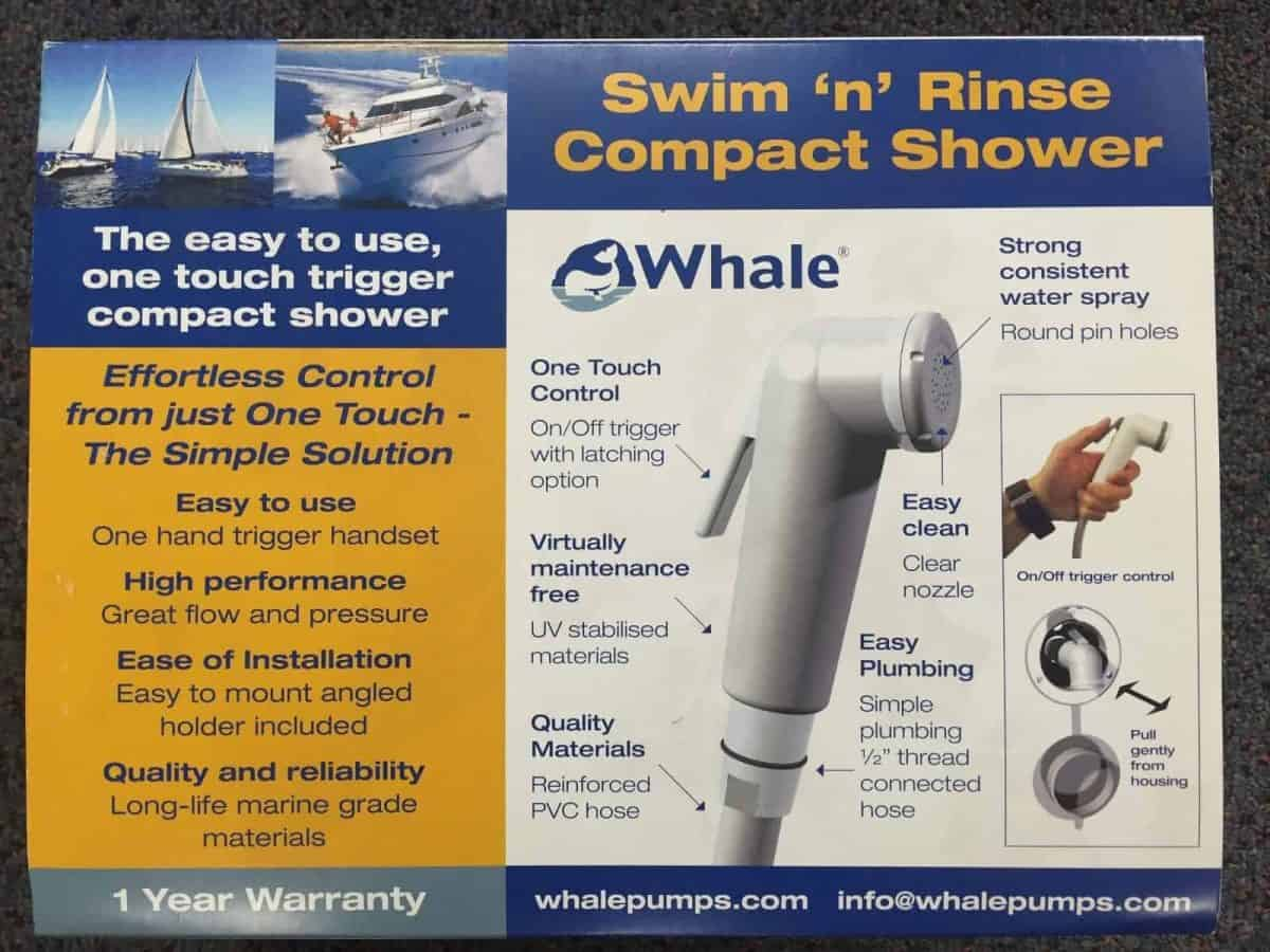 Whale Swim N Rinse Compact Shower RT3000 BLA 134117 with cover 2.6 metre hose