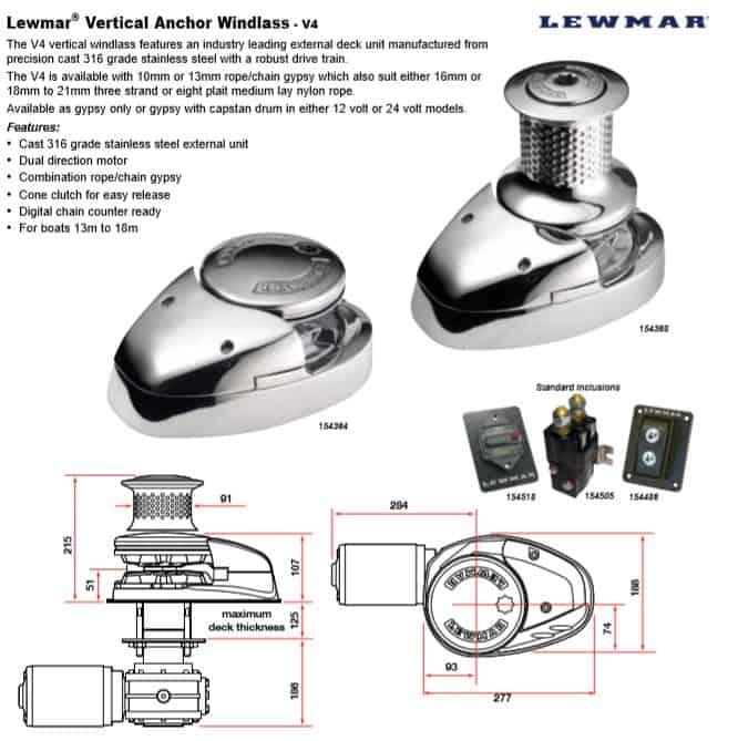 Lewmar® Vertical Anchor Windlass - V4
