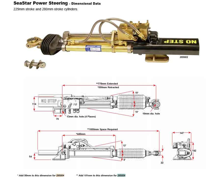 Seastar CYLINDER PWR STEER 9 HC5801-2