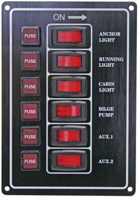Alloy Illuminating Switch Panel - Black 6 Switch 12 Volt