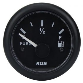 KUS Fuel Gauge 240-33 OHMS 12 / 24 Volt Black