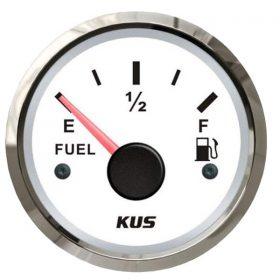 KUS Fuel Gauge 52mm 240-33 OHMS 12 / 24 Volt White Stainless Steel
