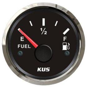 KUS Fuel Gauge 52mm 240-33 OHMS 12 / 24 Volt Black Stainless Steel